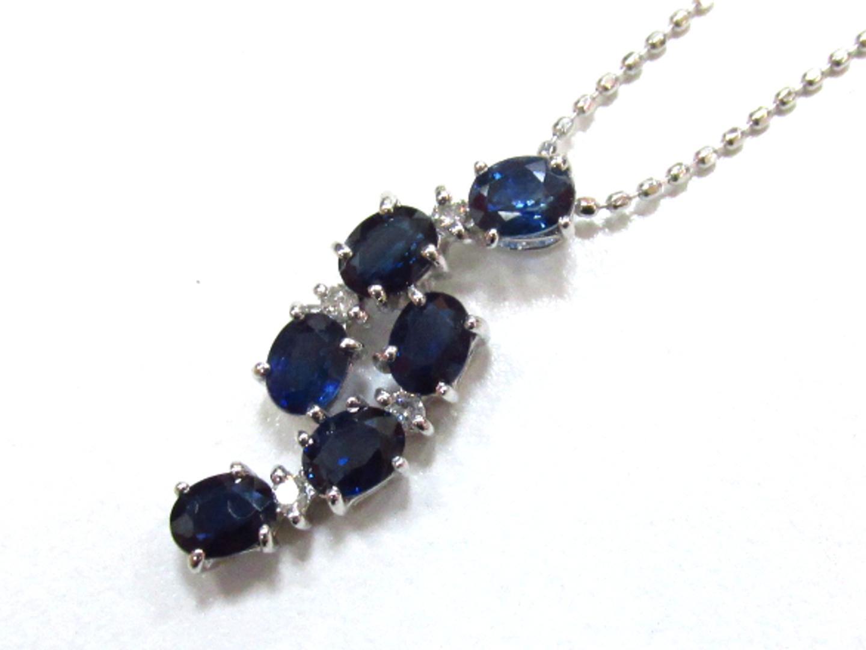【中古】ジュエリー サファイヤ ダイヤモンドネックレス レディース K18WG(750) ホワイトゴールド×サファイヤ(1.22)×ダイヤモンド(0.05) | JEWELRY ネックレス 美品 ブランドオフ BRANDOFF