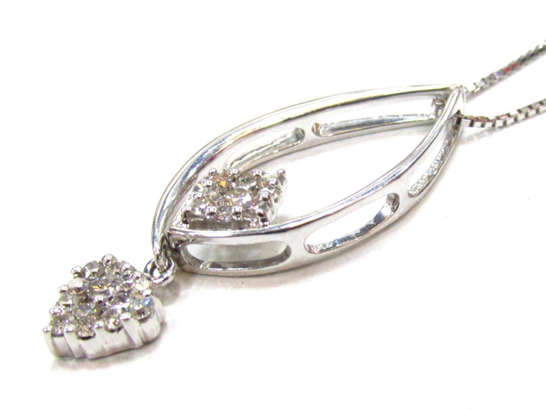 【中古】【送料無料】ジュエリー ダイヤモンド ネックレス レディース K18WG(750) ホワイトゴールド×ダイヤモンド(0.241/0.10) | JEWELRY ネックレス 美品 ブランドオフ BRANDOFF
