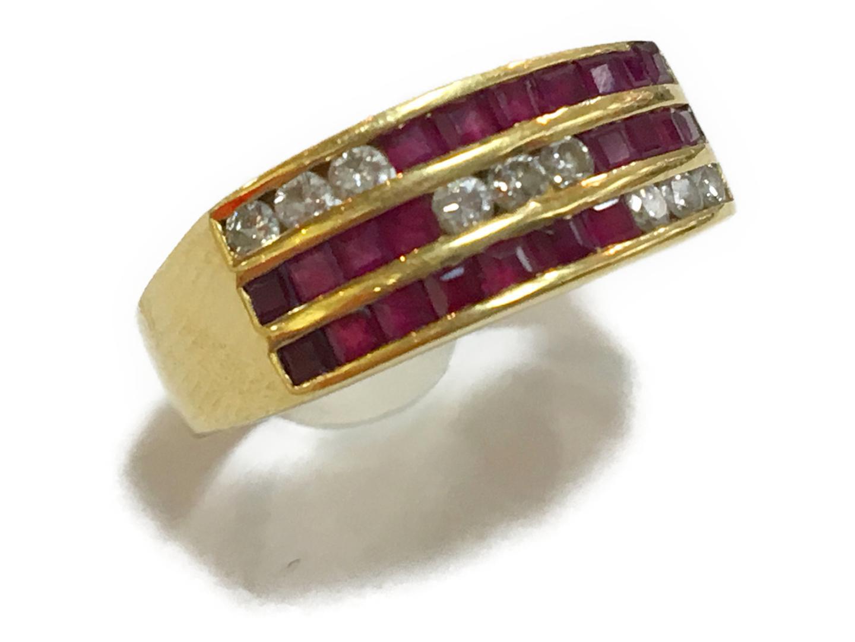 【中古】ジュエリー ジュエリー ルビー ダイヤモンド リング 指輪 K18YG(750) イエローゴールド×ルビー(0.98ct)×ダイヤモンド(0.24ct) | JEWELRY リング メンズ レディース 美品 ブランドオフ BRANDOFF