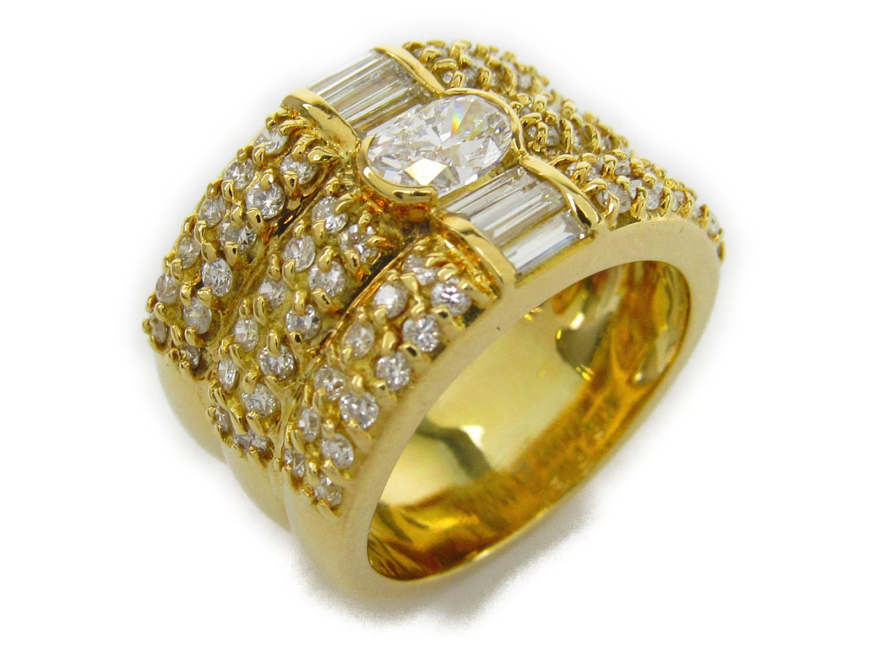 【中古】【送料無料】ジュエリー ダイヤモンド リング 指輪 レディース K18YG(750) イエローゴールドxダイヤモンド0.459/0.73/0.30ct | JEWELRY リング 美品 ブランドオフ BRANDOFF