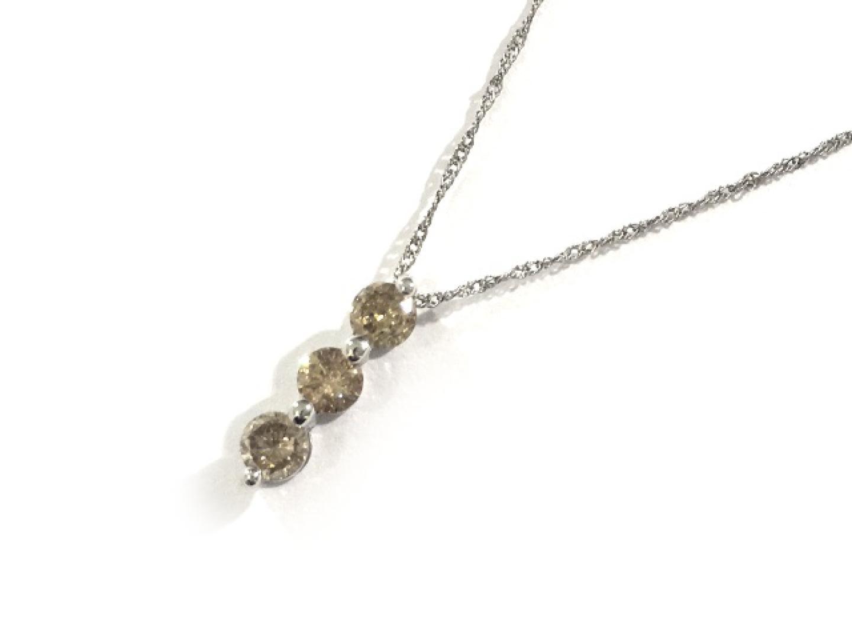 【中古】ジュエリー ブラウンダイヤ ネックレス レディース K18WG(750) ホワイトゴールド×ブラウンダイヤ0.5ct | JEWELRY ネックレス 美品 ブランドオフ BRANDOFF
