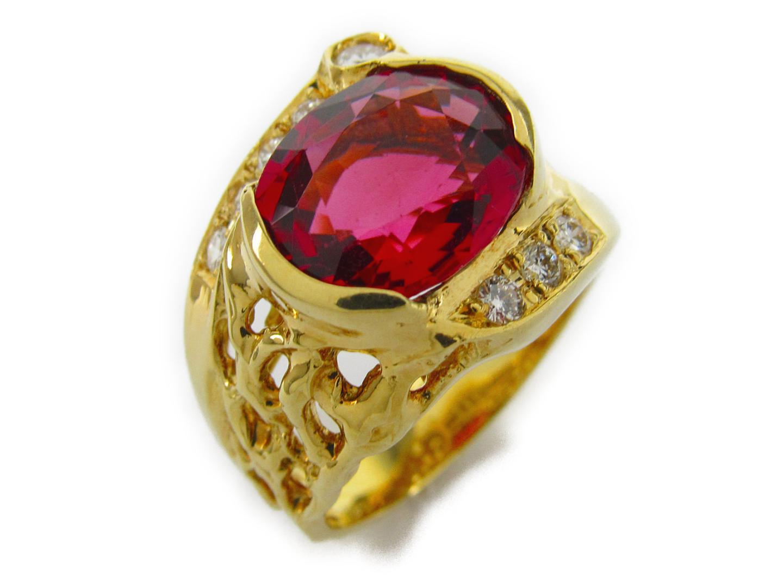 【中古】【送料無料】ジュエリー ピンクトルマリン ダイヤモンド リング 指輪 レディース K18YG(750) イエローゴールドxトルマリン5.61/ダイヤモンド0.33ct | JEWELRY リング 美品 ブランドオフ BRANDOFF