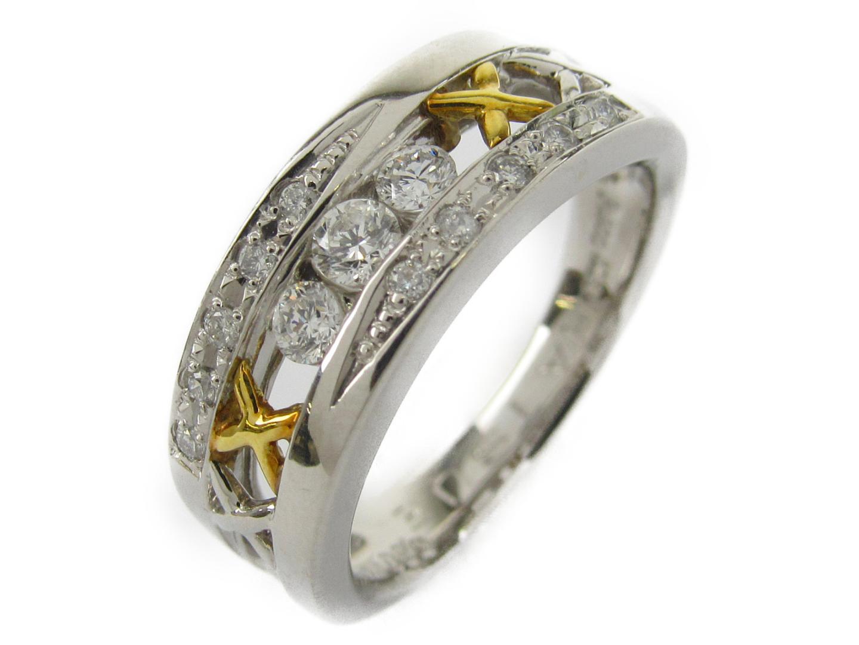 【中古】【送料無料】ジュエリー ダイヤモンド リング 指輪 レディース PT900 プラチナxK18YGxダイヤモンド0.30ct | JEWELRY リング 美品 ブランドオフ BRANDOFF