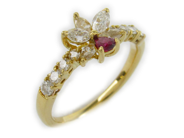 【中古】【送料無料】ジュエリー ルビー ダイヤモンド リング 指輪 レディース K18YG(750) イエローゴールド石目なし   JEWELRY リング 美品 ブランドオフ BRANDOFF