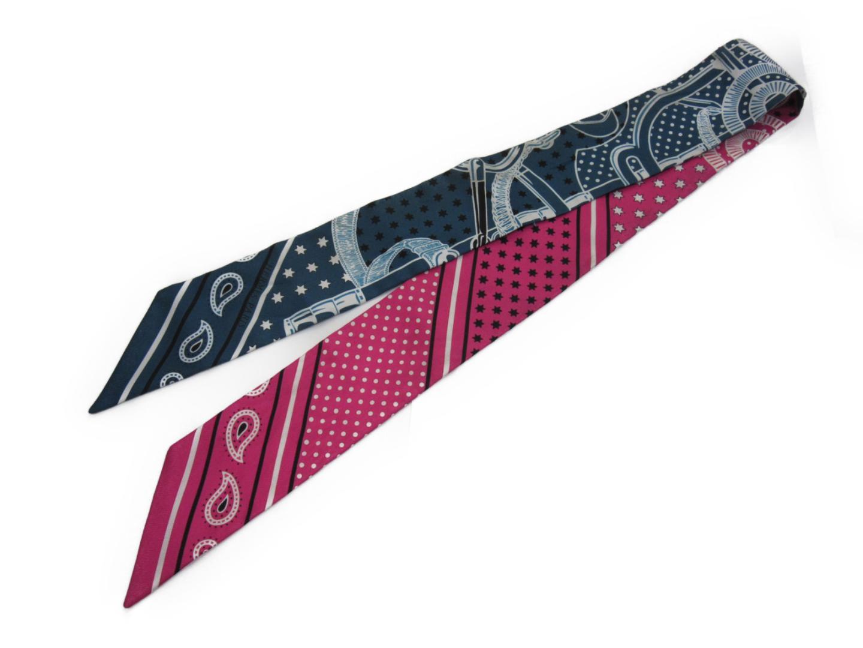 【中古】エルメス トゥイリー スカーフ レディース シルク ピンク x ブルー | HERMES スカーフ 美品 ブランド ブランドオフ BRANDOFF