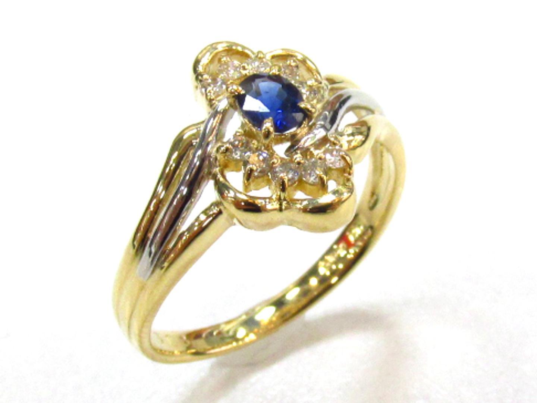 【中古】ジュエリー サファイアリング ダイヤモンド 指輪 レディース K18YG(750) イエローゴールド×PT900×サファイア0.26×ダイヤモンド0.13 | JEWELRY リング 美品 ブランドオフ BRANDOFF