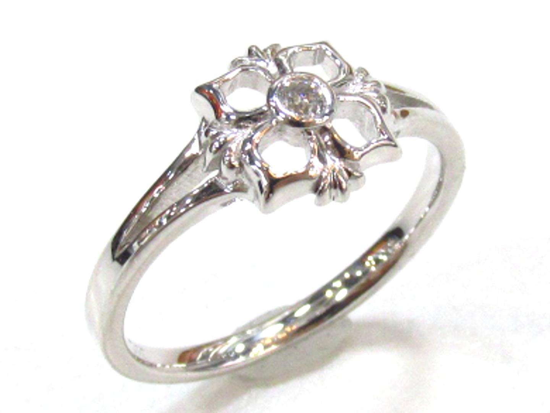【中古】ジュエリー ダイヤモンドリング 指輪 レディース K18WG(750) ホワイトゴールド×ダイヤモンド(0.03) | JEWELRY リング 美品 ブランドオフ BRANDOFF