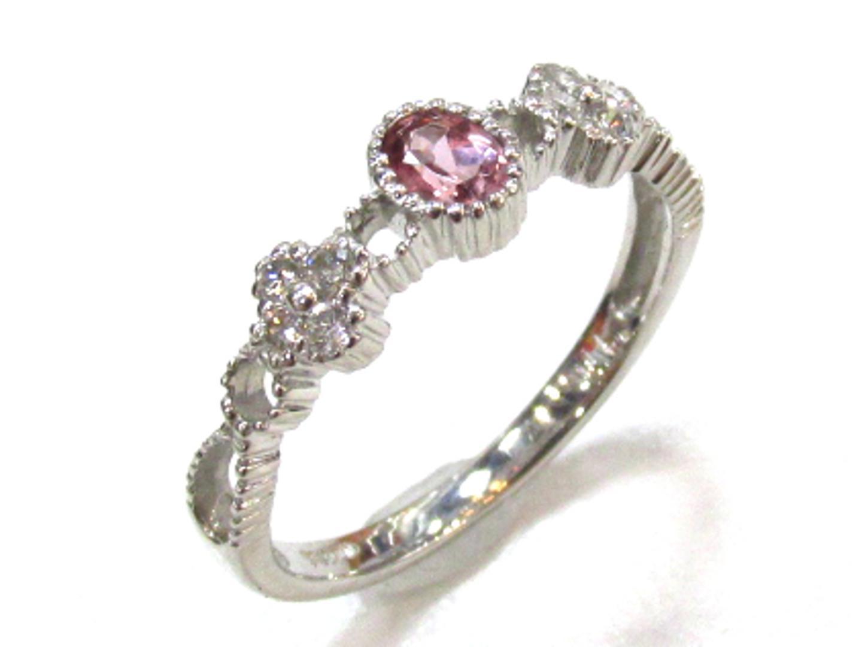 【中古】ジュエリー ガーネットリング ダイヤモンド 指輪 レディース PT900 プラチナダイヤモンド(0.11) | JEWELRY リング 美品 ブランドオフ BRANDOFF