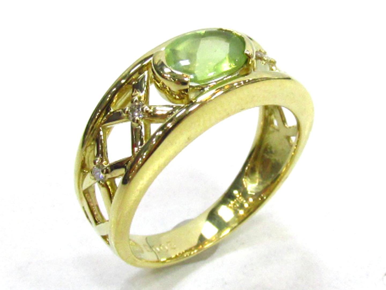 【中古】【送料無料】ジュエリー ペリドット ダイヤモンドリング 指輪 レディース K18YG(750) イエローゴールド×ペリドット×ダイヤモンド(0.05) | JEWELRY リング 美品 ブランドオフ BRANDOFF