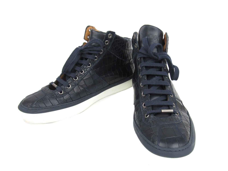 【中古】【送料無料】ジミーチュウ ハイカット スニーカー メンズ メンズ 型押しレザー ネイビー x ホワイト | JIMMY CHOO くつ 靴 美品 ブランド ブランドオフ BRANDOFF