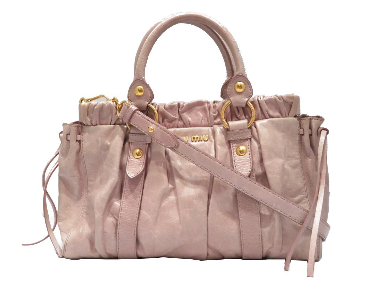 【中古】ミュウミュウ 2wayショルダーバッグ レディース レザー ピンク | miu miu ショルダー 肩掛け バッグ バック BAG 鞄 カバン ブランドバッグ ブランド ブランドオフ BRANDOFF