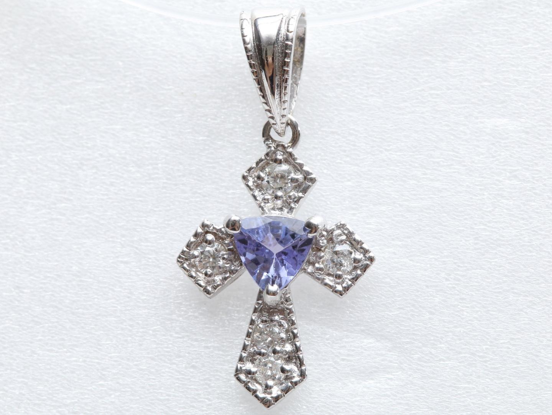 【中古】ジュエリー タンザナイト ダイヤモンド トップ レディース K18WG(750) ホワイトゴールドx タンザナイト(0.25ct) x ダイヤモンド(0.09ct) | JEWELRY トップ 美品 ブランドオフ BRANDOFF
