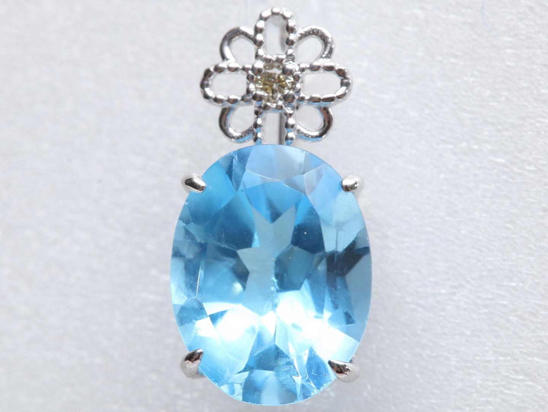 【中古】ジュエリー ブルートパーズ ダイヤモンド トップ レディース K18WG(750) ホワイトゴールド x ブルートパーズ(2.21ct) x ダイヤモンド(0.01ct)   JEWELRY トップ 美品 ブランドオフ BRANDOFF