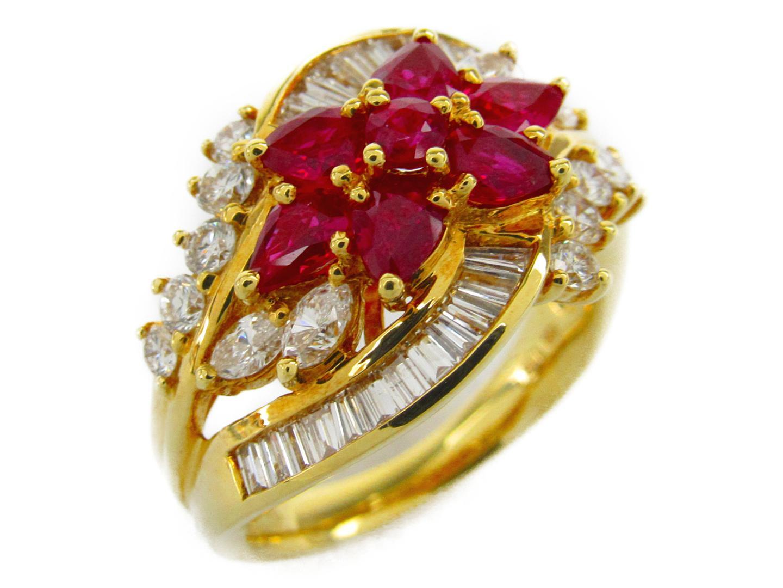 【中古】【送料無料】ジュエリー ルビー ダイヤモンド リング 指輪 レディース K18YG(750) イエローゴールドxルビー1.31/ダイヤモンド1.20ct | JEWELRY リング 美品 ブランドオフ BRANDOFF