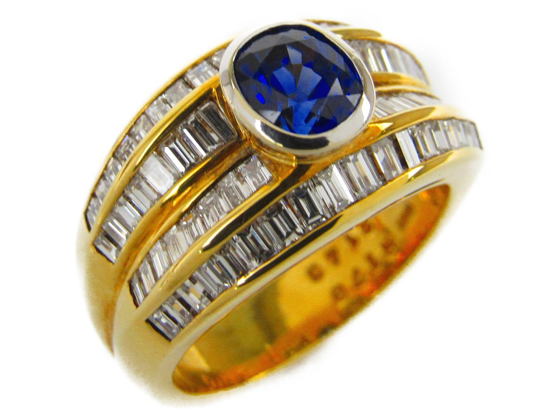 【中古】【送料無料】ジュエリー サファイア ダイヤモンド リング 指輪 K18YG(750) イエローゴールドxサファイア1.43/ダイヤモンド1.78ct | JEWELRY リング メンズ レディース 美品 ブランドオフ BRANDOFF