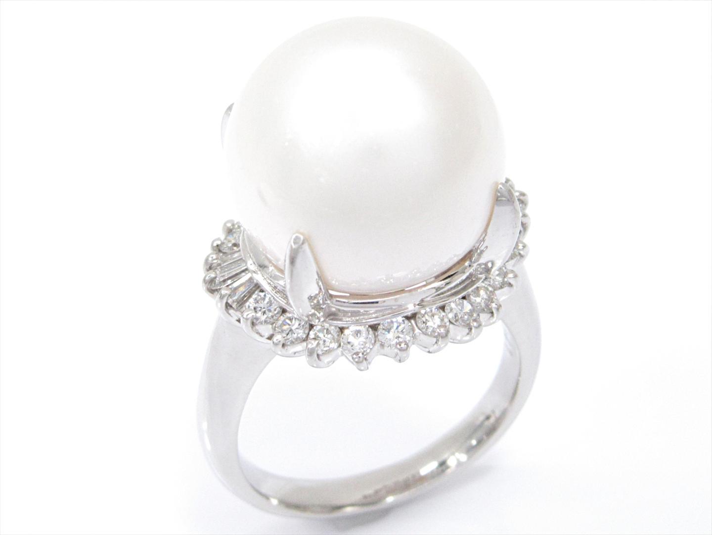 【中古】【送料無料】ジュエリー パールリング 指輪 レディース PT900 プラチナxパールxダイヤモンド(0.641ct) | JEWELRY リング 美品 ブランドオフ BRANDOFF