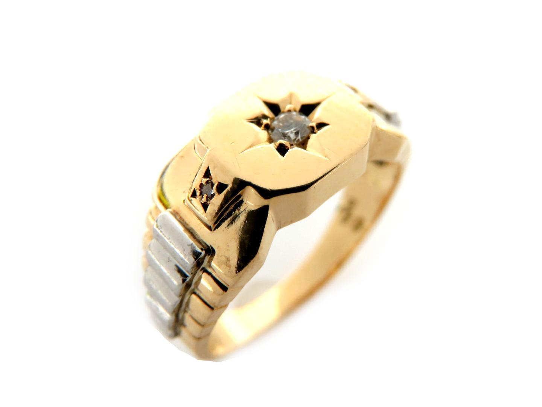 【中古】【送料無料】ジュエリー ダイヤモン ドリング 指輪 K18YG(750) イエローゴールド/PT900プラチナ/ダイヤモンド(0.07ct) クリアー | JEWELRY リング メンズ レディース 美品 ブランドオフ BRANDOFF