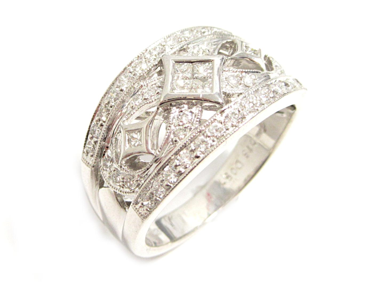 【中古】【送料無料】ジュエリー ダイヤモンドリング 指輪 レディース K18WG(750) ホワイトゴールド ダイヤモンド0.57/0.15ct | JEWELRY リング 美品 ブランドオフ BRANDOFF