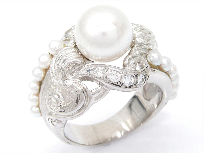 【中古】【送料無料】ジュエリー パールリング 指輪 レディース PT900 プラチナxパールxダイヤモンド(0.21ct) | JEWELRY リング 美品 ブランドオフ BRANDOFF