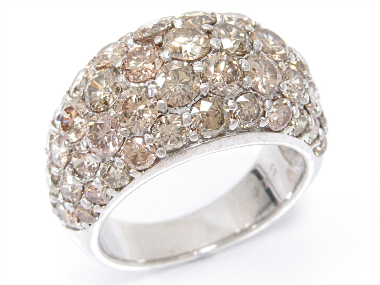【中古】【送料無料】ジュエリー ブラウンダイヤモンドリング 指輪 レディース K18WG(750) ホワイトゴールドxブラウンダイヤモンド(5.00ct)   JEWELRY リング 美品 ブランドオフ BRANDOFF