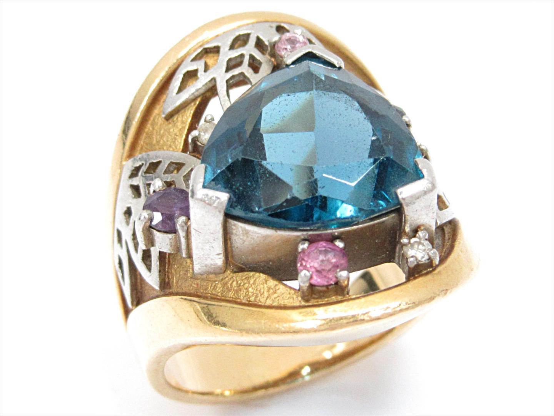 【中古】【送料無料】ジュエリー マルチストーンリング 指輪 レディース K18YG(750) イエローゴールドxPT900x色石(石目なし) | JEWELRY リング 美品 ブランドオフ BRANDOFF