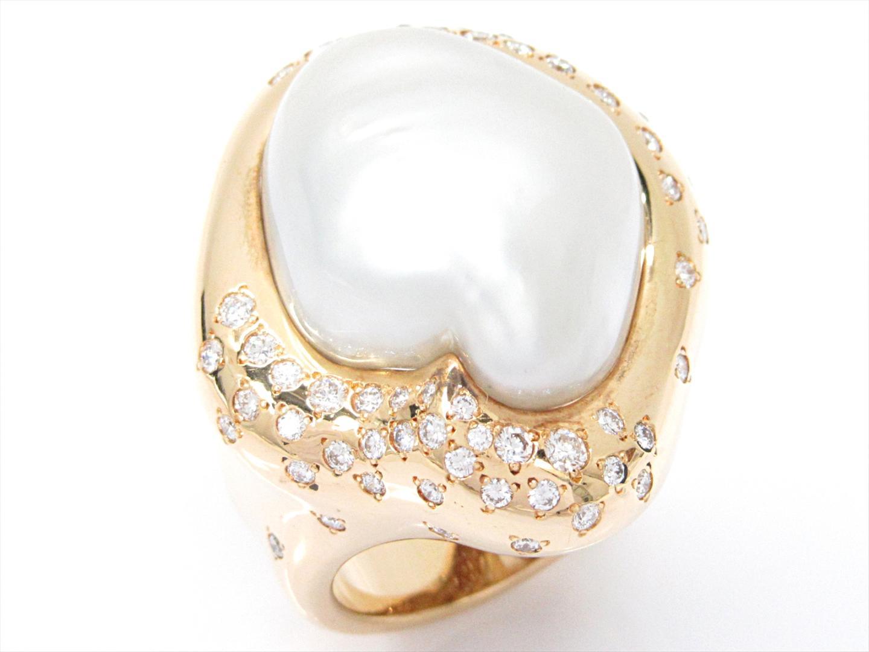 【中古】【送料無料】ジュエリー パールリング 指輪 レディース K18YG(750) イエローゴールドxパールxダイヤモンド(0.86ct) | JEWELRY リング 美品 ブランドオフ BRANDOFF