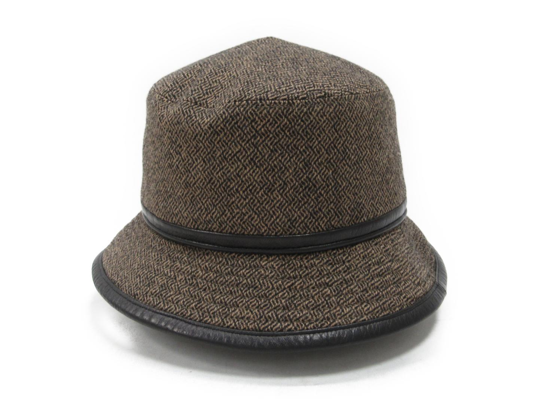 【中古】エルメス ハット ウール(85%)xカシミヤ(15%) ブラウン系xブラック | HERMES 帽子 メンズ レディース ブランド ブランドオフ BRANDOFF