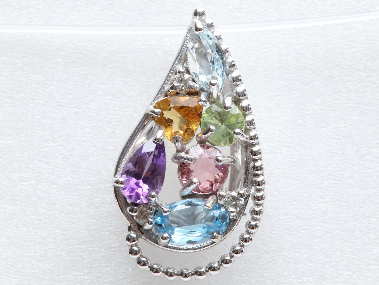 【中古】ジュエリー マルチカラー 色石 ダイヤモンド トップ レディース K18WG(750) ホワイトゴールド x 色石(1.03ct) x ダイヤモンド(0.03ct) | JEWELRY トップ 美品 ブランドオフ BRANDOFF