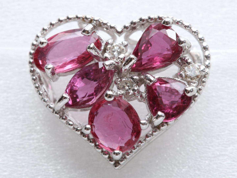 【中古】ジュエリー ハートモチーフ ルビー ダイヤモンド トップ レディース K18WG(750) ホワイトゴールド x ルビー(1.21ct) x ダイヤモンド(0.03ct) | JEWELRY トップ 美品 ブランドオフ BRANDOFF