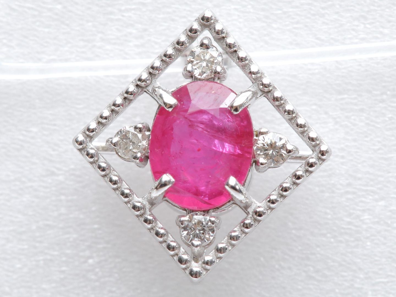 【中古】ジュエリー ルビー ダイヤモンド トップ レディース K18WG(750) ホワイトゴールド x ルビー(0.50ct) x ダイヤモンド(0.04ct) | JEWELRY トップ 美品 ブランドオフ BRANDOFF