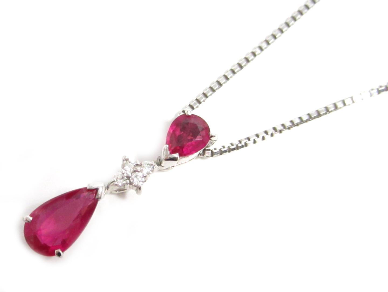 【中古】【送料無料】ジュエリー ルビー ダイヤモンドネックレス レディース K18WG(750) ホワイトゴールド ルビー1.00ct/ダイヤモンド0.05ct | JEWELRY ネックレス 美品 ブランドオフ BRANDOFF