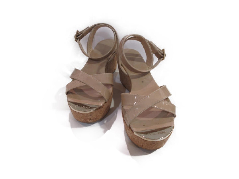 【中古】ジミーチュウ サンダル レディース パテント ベージュ | JIMMY CHOO くつ 靴 美品 ブランド ブランドオフ BRANDOFF