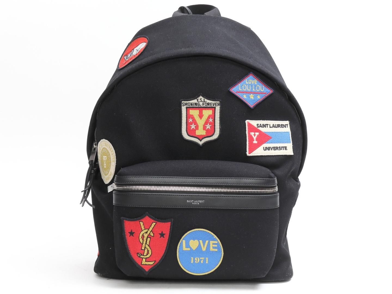 【送料無料】サン・ローラン シティ パッチ バッグパック リュックサック レディース キャンバス x レザー ブラック x マルチカラー (467985) | Saint Laurent リュック バッグ バック BAG 鞄 カバン ブランドバッグ 新品 ブランド ブランドオフ BRANDOFF