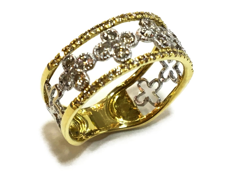 【中古】【送料無料】ジュエリー ダイヤモンド リング K18YG(750) イエローゴールドxK18ホワイトゴールドxダイヤモンド0.50ct クリアーxイエローゴールド | JEWELRY リング メンズ レディース 美品 ブランドオフ BRANDOFF