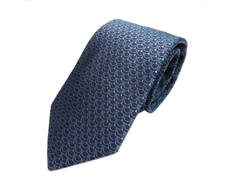 エルメス ネクタイ メンズ シルク ネイビー×ブルー | HERMES ネクタイ 新品 ブランド ブランドオフ BRANDOFF