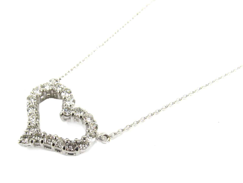 【中古】【送料無料】ジュエリー ハート ダイヤモンド ネックレス レディース PT900 プラチナ x PT850 プラチナ x ダイヤモンド(0.50ct) | JEWELRY ネックレス 美品 ブランドオフ BRANDOFF