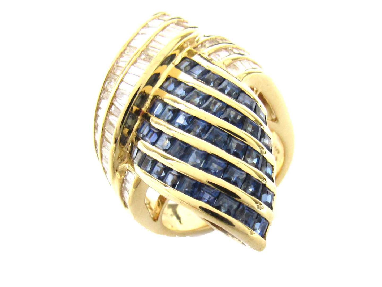 【中古】【送料無料】ジュエリー サファイア ダイヤモンド リング 指輪 レディース K18YG(750) イエローゴールド x サファイア(3.30ct) x ダイヤモンド(1.15ct) | JEWELRY K18 18K 18金 美品 ブランドオフ BRANDOFF