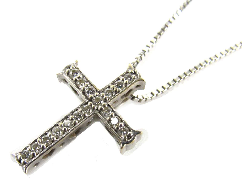 【中古】ジュエリー クロス ダイヤモンド ネックレス レディース K18WG(750) ホワイトゴールド x ダイヤモンド(0.11ct) | JEWELRY ネックレス K18 18K 18金 美品 ブランドオフ BRANDOFF