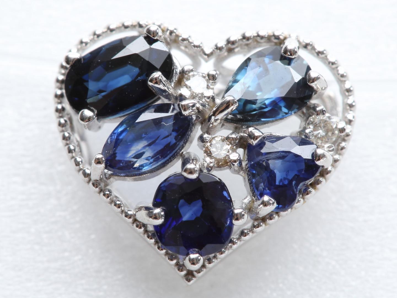 【中古】ジュエリー サファイア ダイヤモンド トップ レディース K18WG(750) ホワイトゴールド x サファイア(1.31ct) x ダイヤモンド(0.03ct) | JEWELRY トップ K18 18K 18金 美品 ブランドオフ BRANDOFF