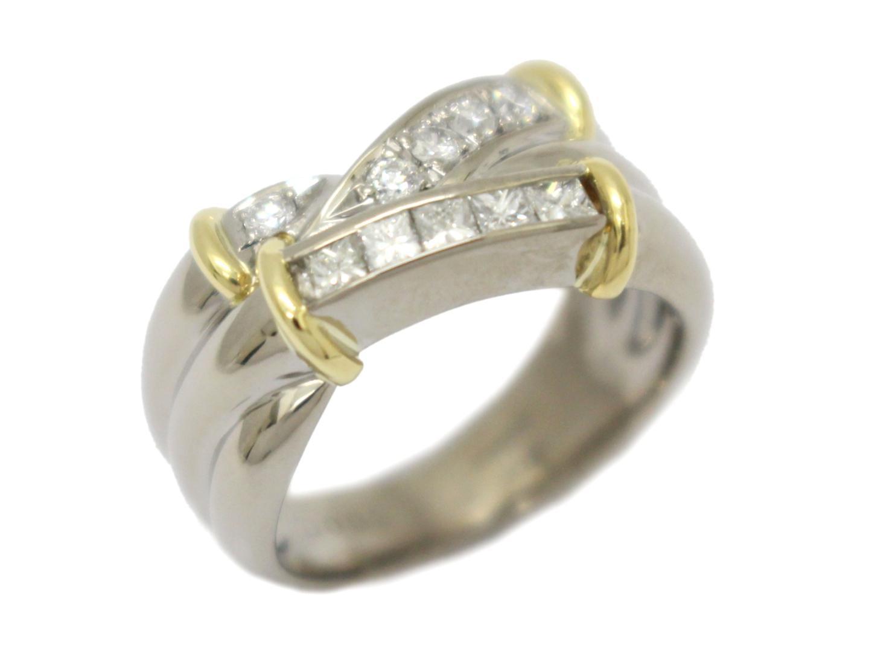 【中古】【送料無料】ジュエリー ダイヤモンド リング 指輪 レディース K18YG(750) イエローゴールド×K18WG(750)ホワイトゴールド×ダイヤモンド(0.33ct) | JEWELRY K18 18K 18金 美品 ブランドオフ BRANDOFF