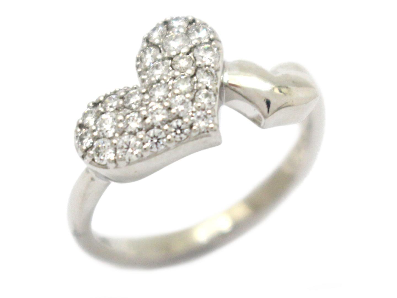 【中古】【送料無料】ジュエリー ダイヤモンド ハート リング 指輪 レディース K18WG(750) ホワイトゴールド×ダイヤモンド(0.23ct) | JEWELRY K18 18K 18金 美品 ブランドオフ BRANDOFF