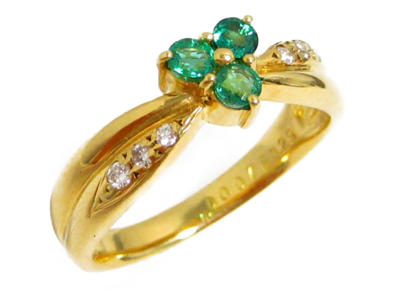 【中古】【送料無料】ジュエリー エメラルドリング 指輪 レディース K18YG(750) イエローゴールド × エメラルド(0.29ct) × ダイヤモンド(0.07ct) | JEWELRY K18 18K 18金 美品 ブランドオフ BRANDOFF
