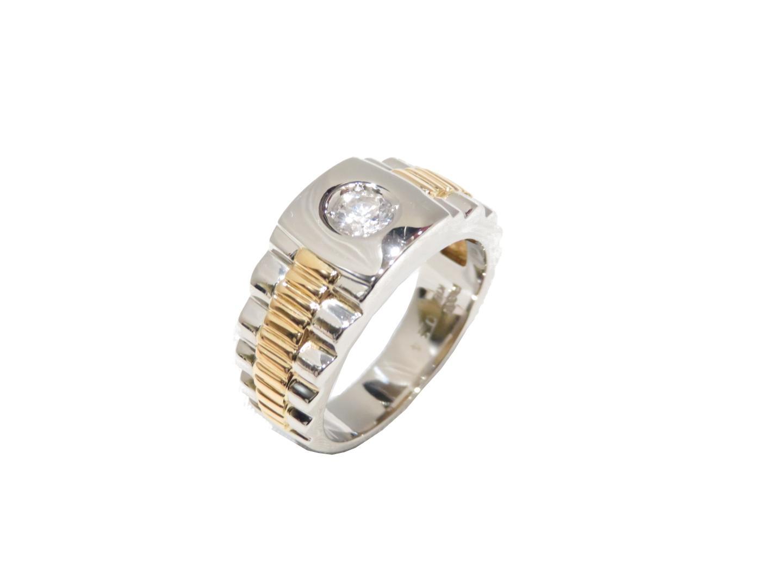 【中古】【送料無料】ジュエリー ダイヤモンドリング 指輪 メンズ PT900(プラチナ)×K18YG(イエローゴールド) | JEWELRY K18 18K 18金 美品 ブランドオフ BRANDOFF