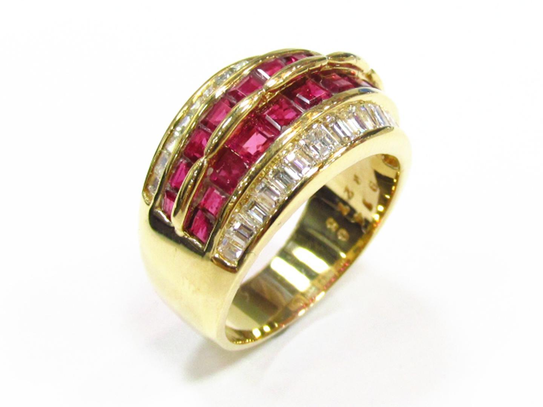 【中古】【送料無料】ジュエリー ルビー ダイヤモンド リング 指輪 レディース K18YG(750) イエローゴールド×ルビー(02.75ct)×ダイヤモンド(0.40ct) レッドxゴールド | JEWELRY リング K18 18K 18金 美品 ブランドオフ BRANDOFF