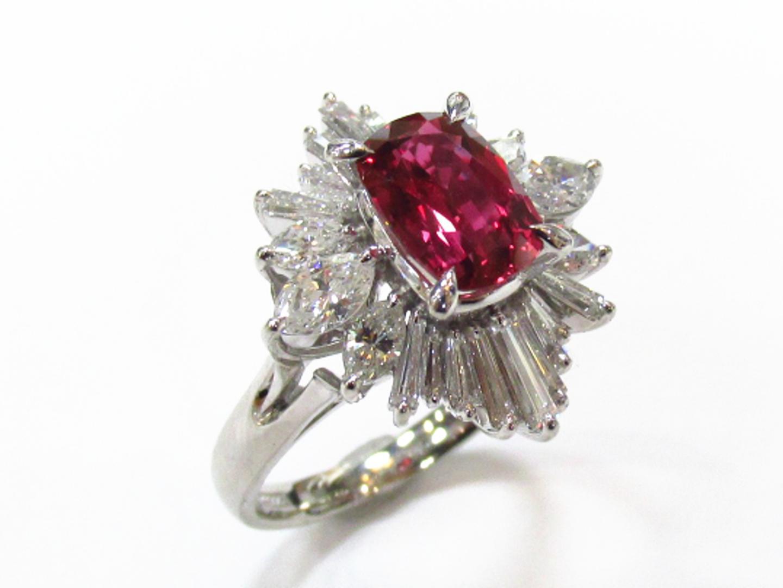 【中古】【送料無料】ジュエリー ルビー ダイヤモンド リング 指輪 レディース PT900 プラチナxルビー(1.64ct)xダイヤモンド(1.26ct) レッドxシルバー | JEWELRY リング 美品 ブランドオフ BRANDOFF