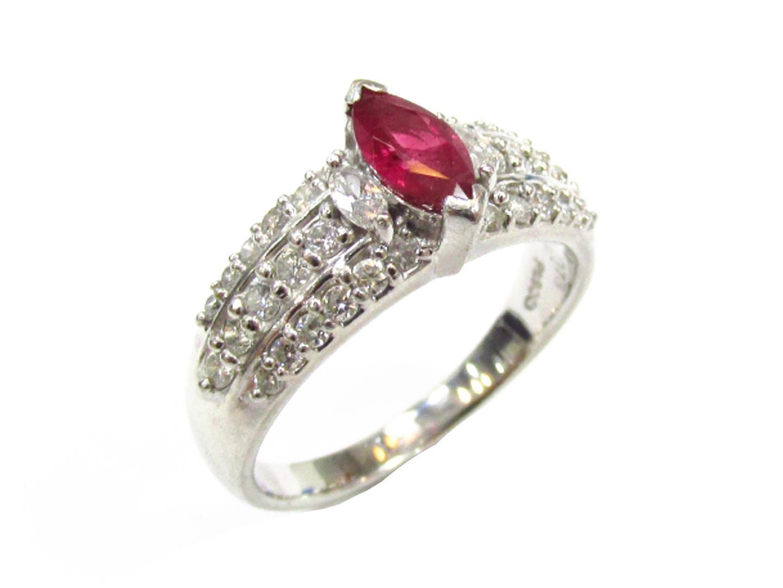 【中古】【送料無料】ジュエリー ルビー ダイヤモンド リング 指輪 レディース PT900 プラチナxルビー(0.73ct)xダイヤモンド(0.76ct) レッドxシルバー | JEWELRY リング 美品 ブランドオフ BRANDOFF
