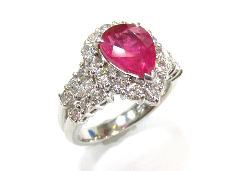 【中古】【送料無料】ジュエリー ルビー ダイヤモンド リング 指輪 レディース PT900 プラチナXルビー(2.258ct)xダイヤモンド(1.26ct) レッドxシルバー | JEWELRY リング 美品 ブランドオフ BRANDOFF