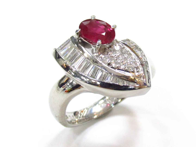 【中古】【送料無料】ジュエリー ルビー ダイヤモンド リング 指輪 レディース PT900 プラチナxルビー(0.964ct)xダイヤモンド(0.64ct) レッドxシルバー | JEWELRY リング 美品 ブランドオフ BRANDOFF