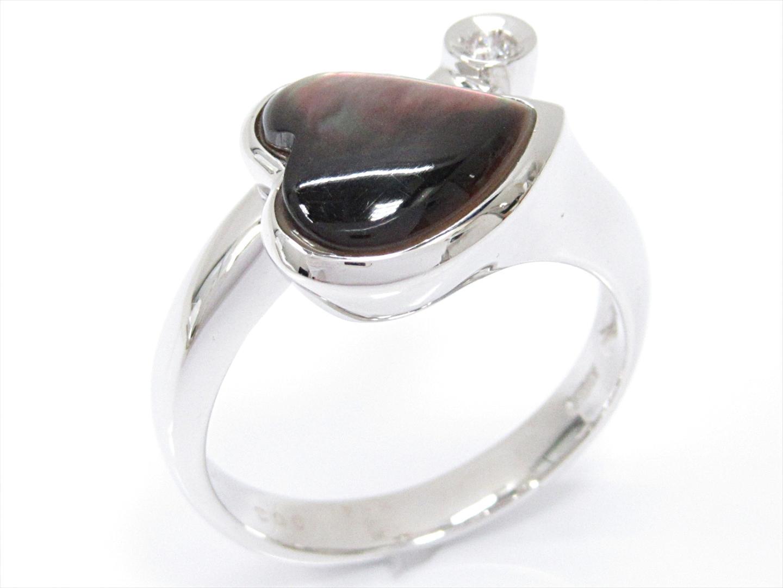 【中古】【送料無料】ジュエリー シェルリング 指輪 レディース K18WG(750) ホワイトゴールドxシェルxダイヤモンド(0.03ct) | JEWELRY リング K18 18K 18金 美品 ブランドオフ BRANDOFF