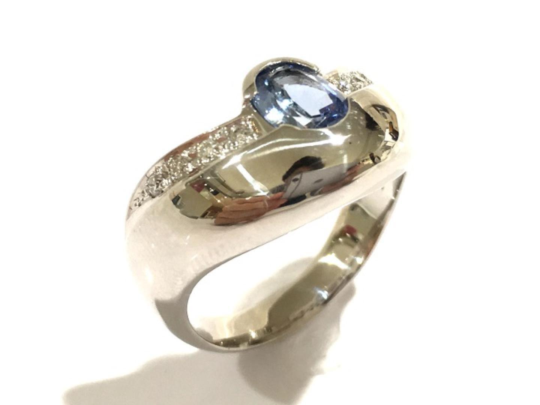 【中古】【送料無料】ジュエリー タンザナイトリング 指輪 レディース PT850 プラチナ×タンザナイト(0.96ct)×ダイヤモンド(0.11ct) | JEWELRY リング 美品 ブランドオフ BRANDOFF